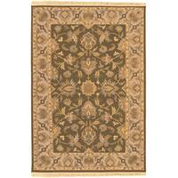 Hand-knotted Salevia Brown Semi-Worsted New Zealand Wool Area Rug - 8' x 10'