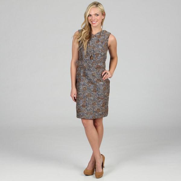Amelia Women's Metallic Blue Boucle Printed Dress