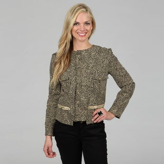 Amelia Women's Black and Cream Cyclone Print Jacquard Jacket