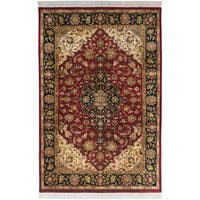 Hand-knotted Meknes Maroon Semi-Worsted New Zealand Wool Area Rug - 2' x 3'