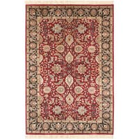 Hand-knotted Oujda Cherry Burgundy Semi-Worsted New Zealand Wool Area Rug - 2' X 3'