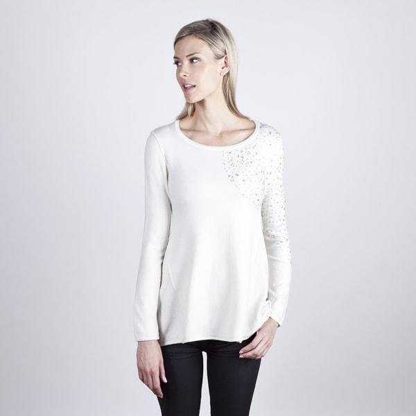 Colour Works Women's Ivory Jewel Shoulder Long Sleeve Top