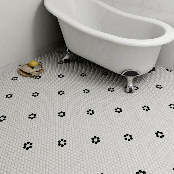 Somertile 10 25x11 75 Inch Victorian Hex Glossy White With Flower Porcelain Mosaic Floor