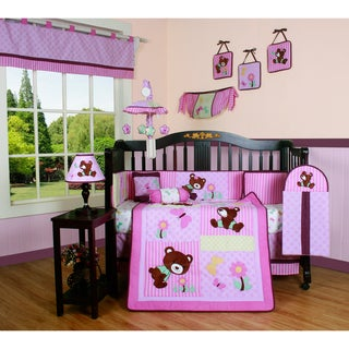 Geenny Pink Teddy Bear 13-piece Crib Bedding Set