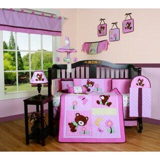 Geenny Pink Teddy Bear 13-piece Crib Bedding Set