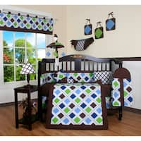 Blue Brown Diamond 13-piece Crib Bedding Set