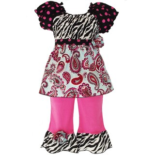 AnnLoren Girls' 2-piece Smocked Paisley/ Polka-dot/ Zebra Outfit