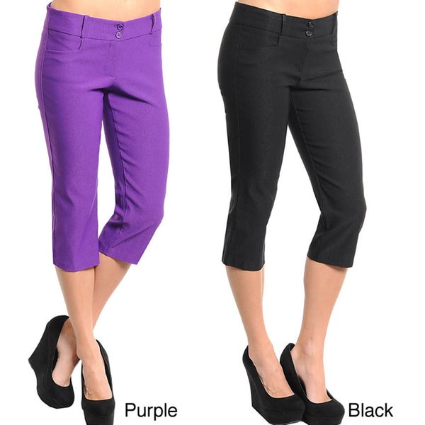 Stanzino Women's Solid Casual Capri Pants