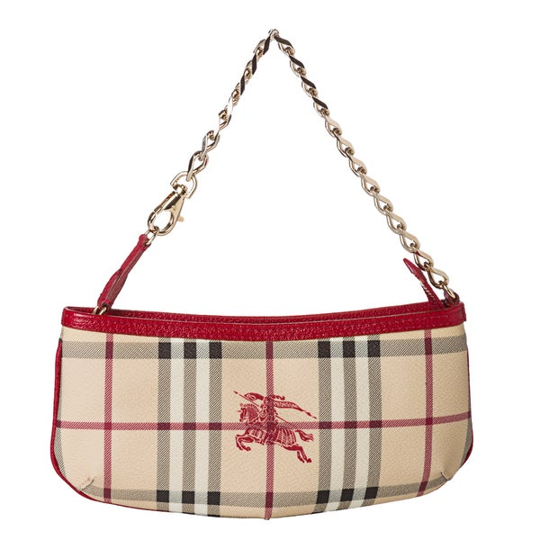Burberry Haymarket Check/ Red Leather Wristlet