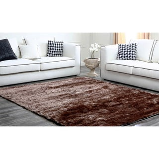 Abbyson Brown Plush Shag Rug