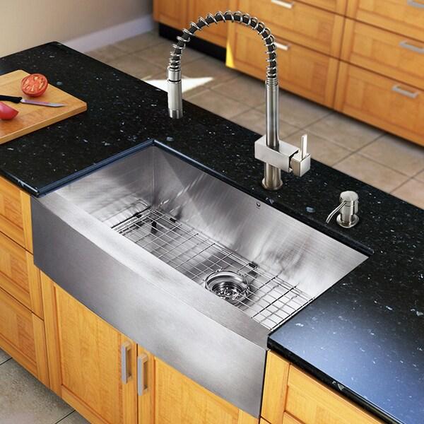 Kitchen Enchanting Kohler Farmhouse Sink For Your Modern: VIGO All-in-one Steel 33-inch Farmhouse Kitchen Sink And