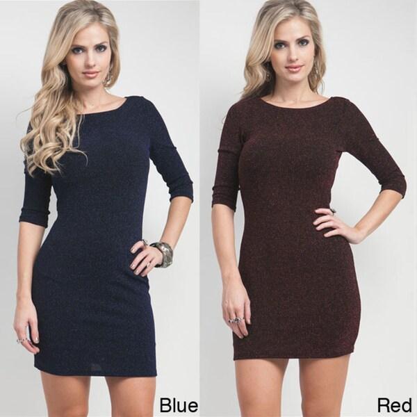 Stanzino Women's 3/4-Sleeve Weaved Glitzy Dress
