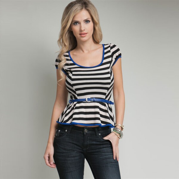 Stanzino Women's Striped Black and White Belted Top