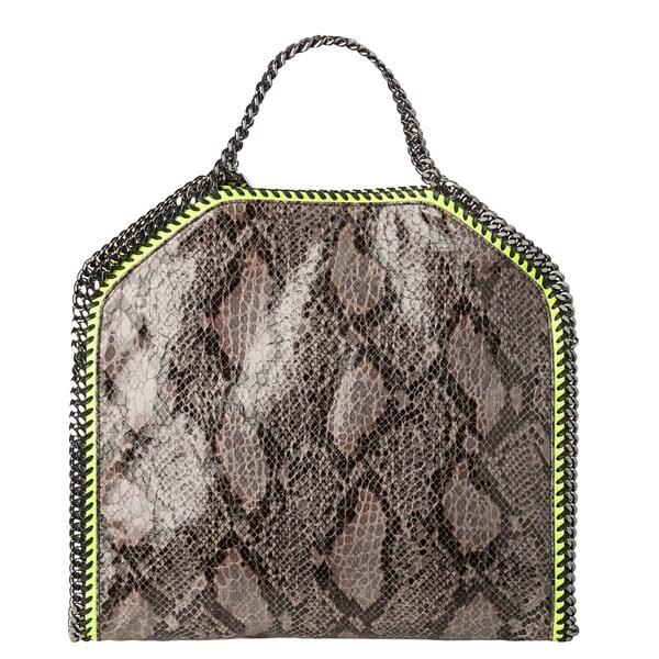 Stella McCartney 'Falabella' Small Faux Python/ Neon Green Tote Bag