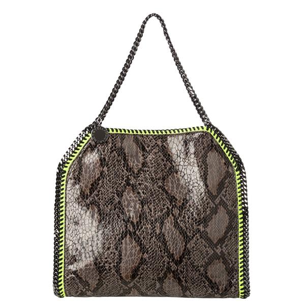 Stella McCartney 'Baby Bella' Faux Python/ Neon Green Tote Bag