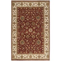 Hand-knotted Misset Scarlet Red Wool Area Rug - 5'6 x 8'6