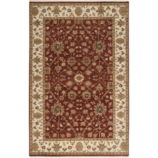 "Hand-knotted Misset Scarlet Red Wool Area Rug - 5'6"" x 8'6"""