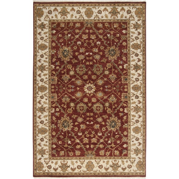 Hand-knotted Misset Scarlet Red Wool Area Rug (5'6 x 8'6)