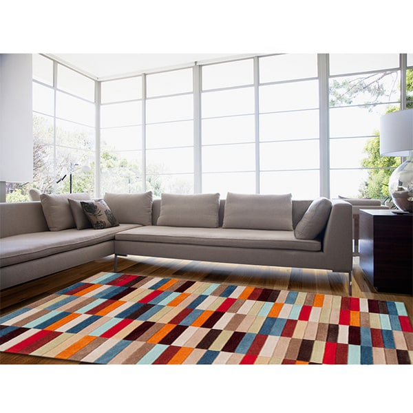 Hand-tufted Anderlecht Multicolor Geometric Area Rug (8' x 11')