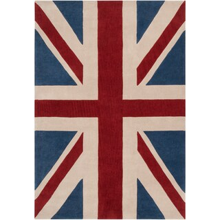 Hand-tufted Afligem Brick Red Union Jack Rug (2' x 3')