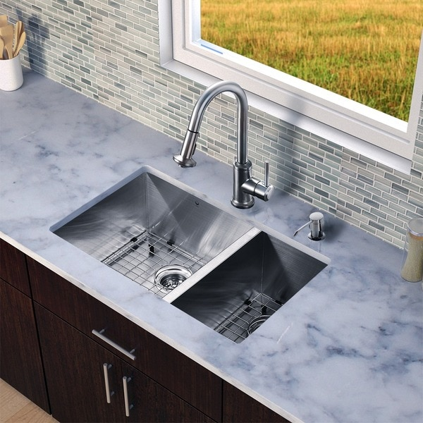 "VIGO All-In-One 29"" Endicott Stainless Steel Double Bowl Undermount Kitchen Sink Set With Astor Faucet"