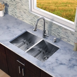 VIGO All-in-one 32-inch Undermount Stainless Steel Double Bowl Kitchen Sink and Faucet Set