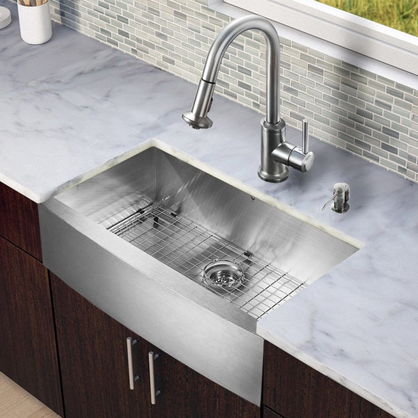 Farmhouse Stainless Steel Kitchen Sink : ... -in-one 33-inch Farmhouse Stainless Steel Kitchen Sink and Faucet Set