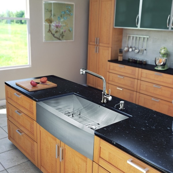 VIGO All-in-One 36-inch Stainless Steel Farmhouse Kitchen Sink and Avondale Stainless Steel Faucet Set