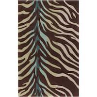 Hand-tufted Brown/Blue Zebra Animal Print Dakla Area Rug - 9' x 13'