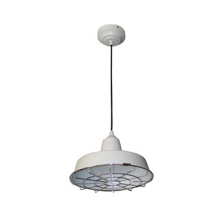 HomeSelects White LED Pendant Light with Removeable Wire Guard