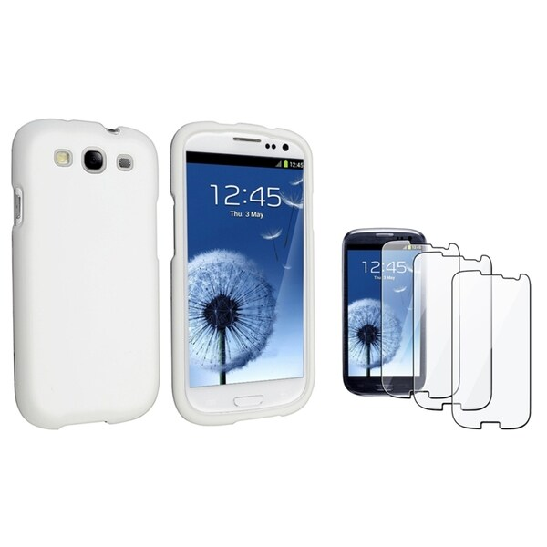 INSTEN White Phone Case Cover/ Screen Protector for Samsung Galaxy S3/ SIII i9300