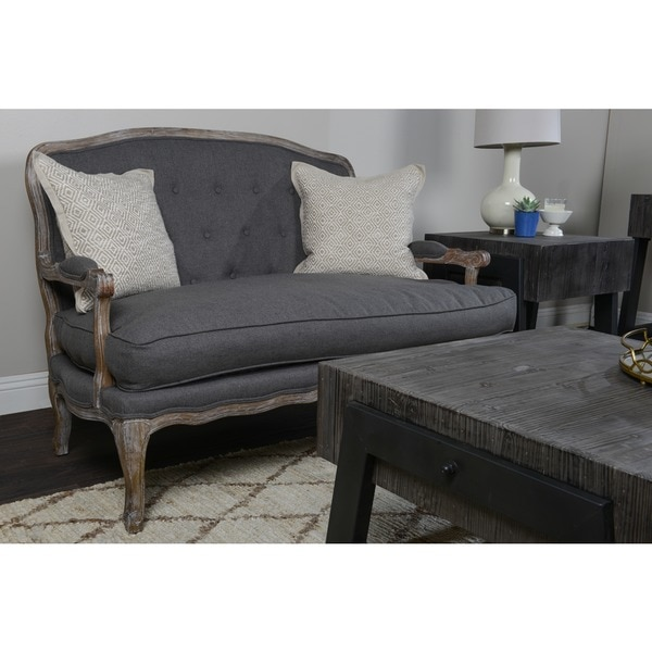 Eddie Tufted Grey Settee by Kosas Home