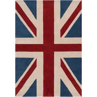 Hand-tufted Afligem Brick Red Union Jack Area Rug (9' x 13')