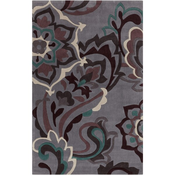 Hand-tufted Anderlues Dark Grey Floral Rug (5' x 8')