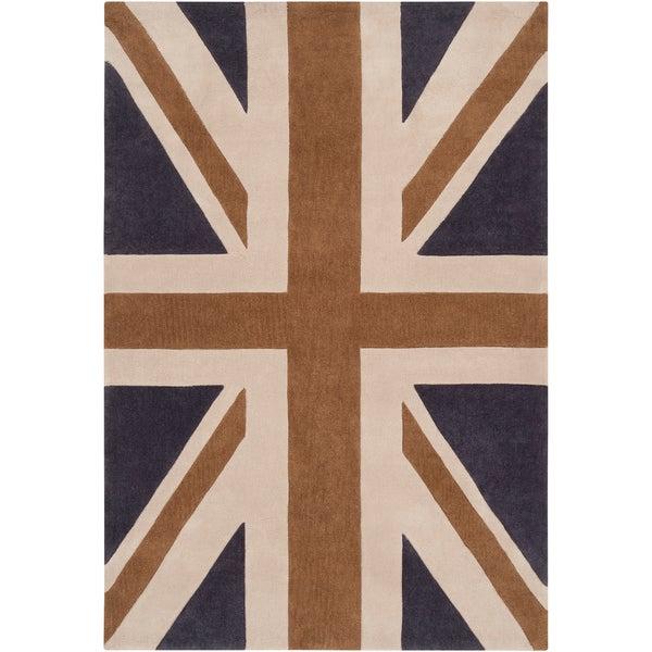 Hand-tufted Afligem1 Dark Blue Union Jack Rug (2' x 3')