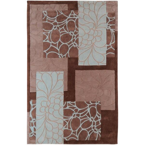 Hand-tufted Midelt Grey Floral Squares Area Rug - 9' x 13'