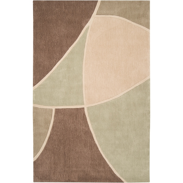 Hand-tufted Azrou1 Sage Green Geometric Area Rug - 9' x 13'
