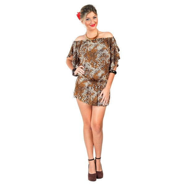 1 World Sarongs Women's Off the Shoulder Feline Animal Print Coverup Tunic Short Dress (Indonesia)
