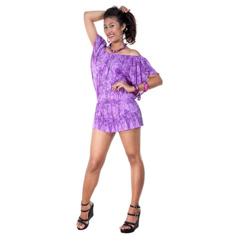 Handmade 1 World Sarongs Women's Off the Shoulder Purple Butterfly Coverup Tunic Short Dress (Indonesia)