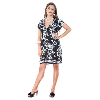 1 World Sarongs Women's Deep V-Neck Hibiscus Black and White Coverup Tunic Short Dress