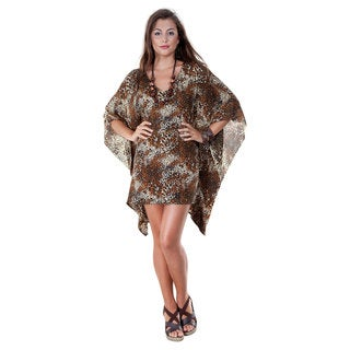 1 World Sarongs Women's V-Neck Animal Print Tunic Poncho Coverup (Indonesia)
