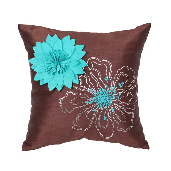 Full Bloom Turquoise 18-inch Faux Silk Throw Pillow