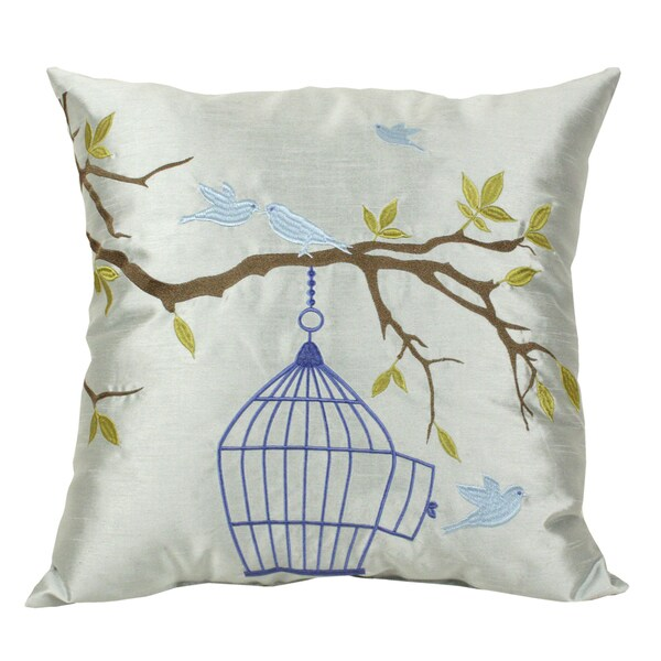 Embroidered Love Bird 20-inch Faux Silk Throw Pillow