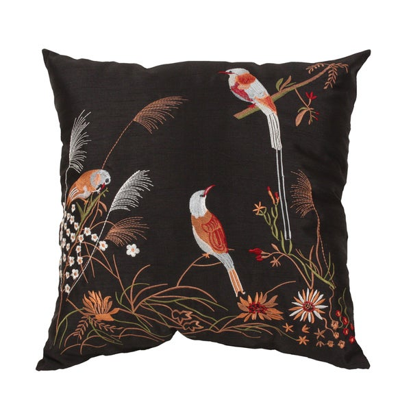 Embroidered 'Birds on a Feather' 18-inch Faux Silk Throw Pillow