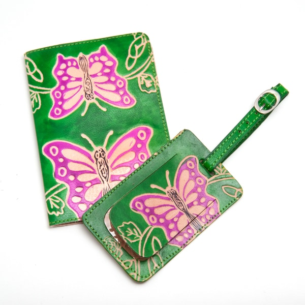 Butterfly Leather Luggage Tag & Passport Holder Travel Set (India)