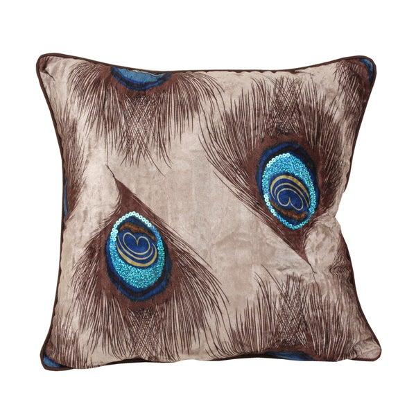 Peacock Feather 18-inch Square Throw Pillow