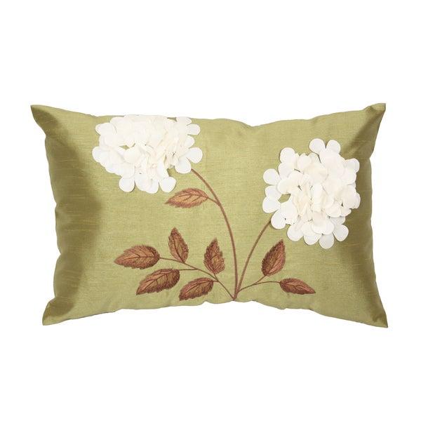 Sally Green Rectangular Faux Silk Throw Pillow