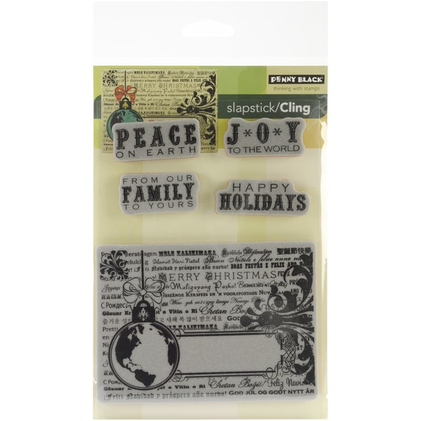 "Penny Black Cling Rubber Stamp 5""X7.5""-Peace On Earth"