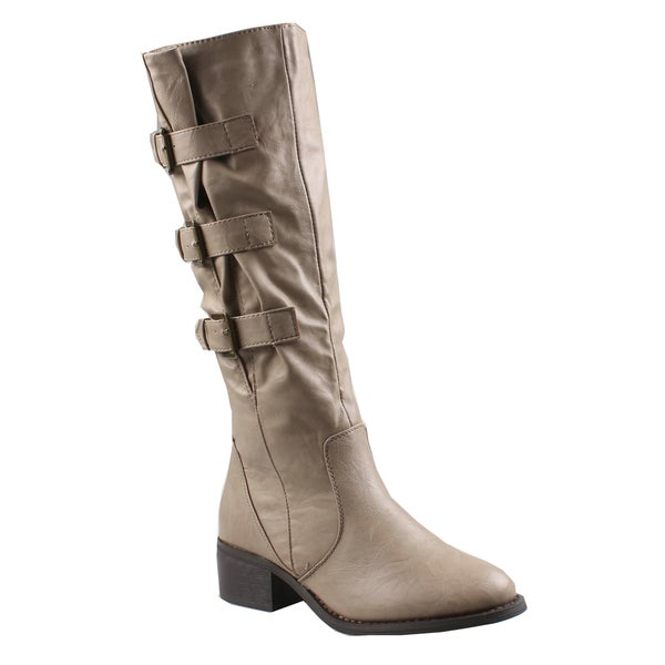 Refresh by Beston Women's 'Kirby' Taupe Knee-High Riding Boots