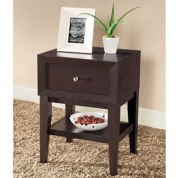 Baxton Studio Gaston Modern and Contemprorary Dark Brown Wood Nightstand